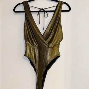 Tops - Forever21 Bodysuit Metallic Gold
